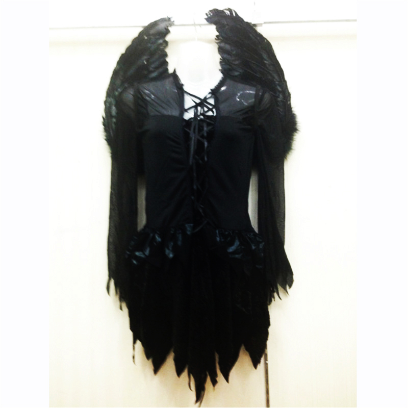 <font><b>Halloween</b></font> <font><b>Sexy</b></font> black Angel White Angel Costume With wings Adult Vampire Cosplay <font><b>Dress</b></font> Party Scary Elf Day of the Dead clothing image