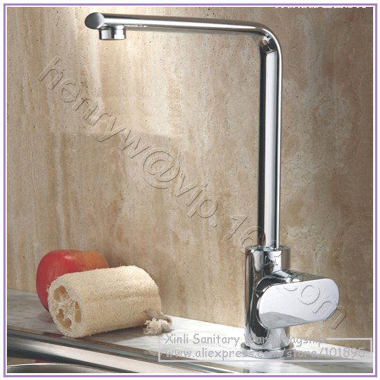 L16631 Luxury Deck Mounted Chrome Color Brass Material of Single Lever Kitchen Tap