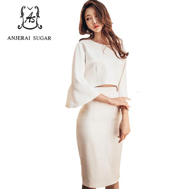 4df447f90 Otoño Invierno mujeres Vestido 2 unidades vestidos blanco sexy Slim Flare  manga superior corto Paquete de
