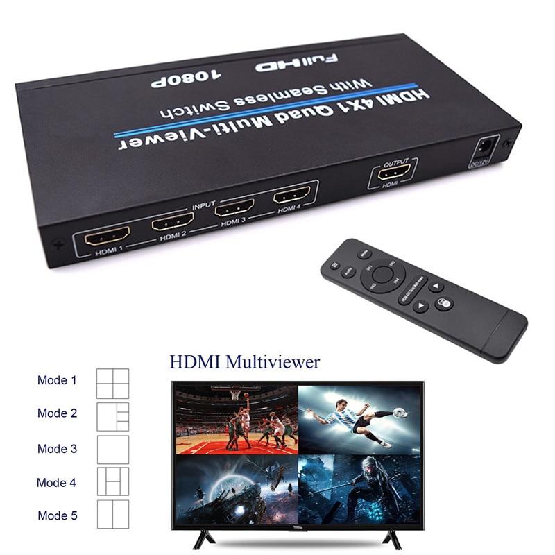 New HDMI 4x1 Quad Multi-viewer Splitter Full HD 1080P Seamless Switching IR Control EM88