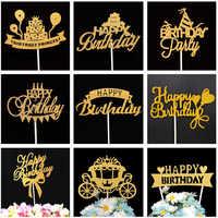 Topper para tarta de feliz cumpleaños, decoraciones para fiesta de cumpleaños, niños, niña, decoración para Cupcake, Baby Shower, 1er cumpleaños, decoraciones para cupcakes doradas y Rojas