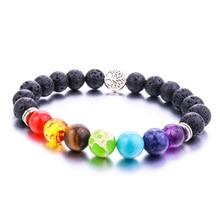 8mm Lava Stone Tree Of Life 7 Chakra  Healing Balance Beads Reiki Buddha Prayer  Essential Oil Diffuser Bracelet Jewelry