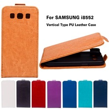 Luxurty PU Leather Case For Samsung Galaxy Win I8552 GT-i8552 GT i8550 i8558 8552 4.7 inch Cover Solid Vertical Flip Housing Bag