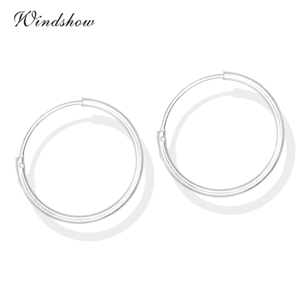 6 Size Real 925 Sterling Silver Round Circles Small Endless Hoops Earrings  For Women Baby Girls