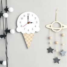 Dropshipping Nordic Style Ice Cream Wall Clock Silent Wooden Clock for