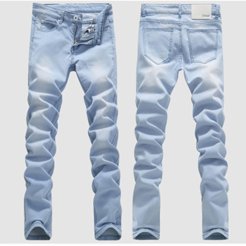2019 New Summer   Jeans   Men's Light blue Business Casual Solid color Denim Shorts Slim Fit Straight Elastic   Jeans   Shorts
