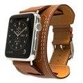 Banda de cuero genuino para apple watch band 42mm pulsera azul correa de cuero brazalete con adaptador para iwatch correa 38mm marrón