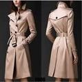 Станция европа 2016 Осенью новый Англии двубортный длинное пальто Slim тренч пальто для женщин