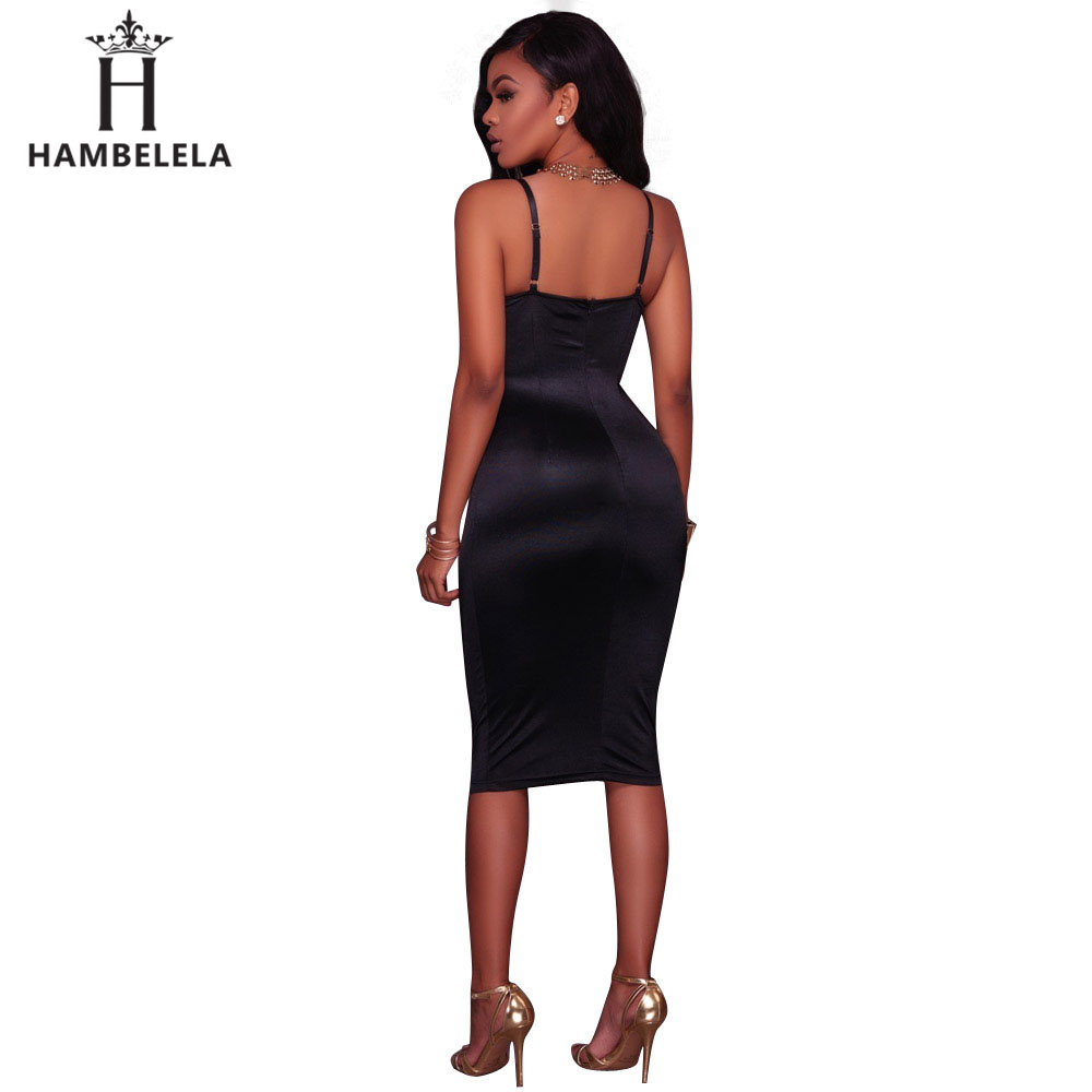 ... HAMBELELA Summer Women Bandage Dress Ladies Knee Length Midi Bodycon  Bustier Dress 2018 Elegant Sexy Night ... 0a66153a3ace