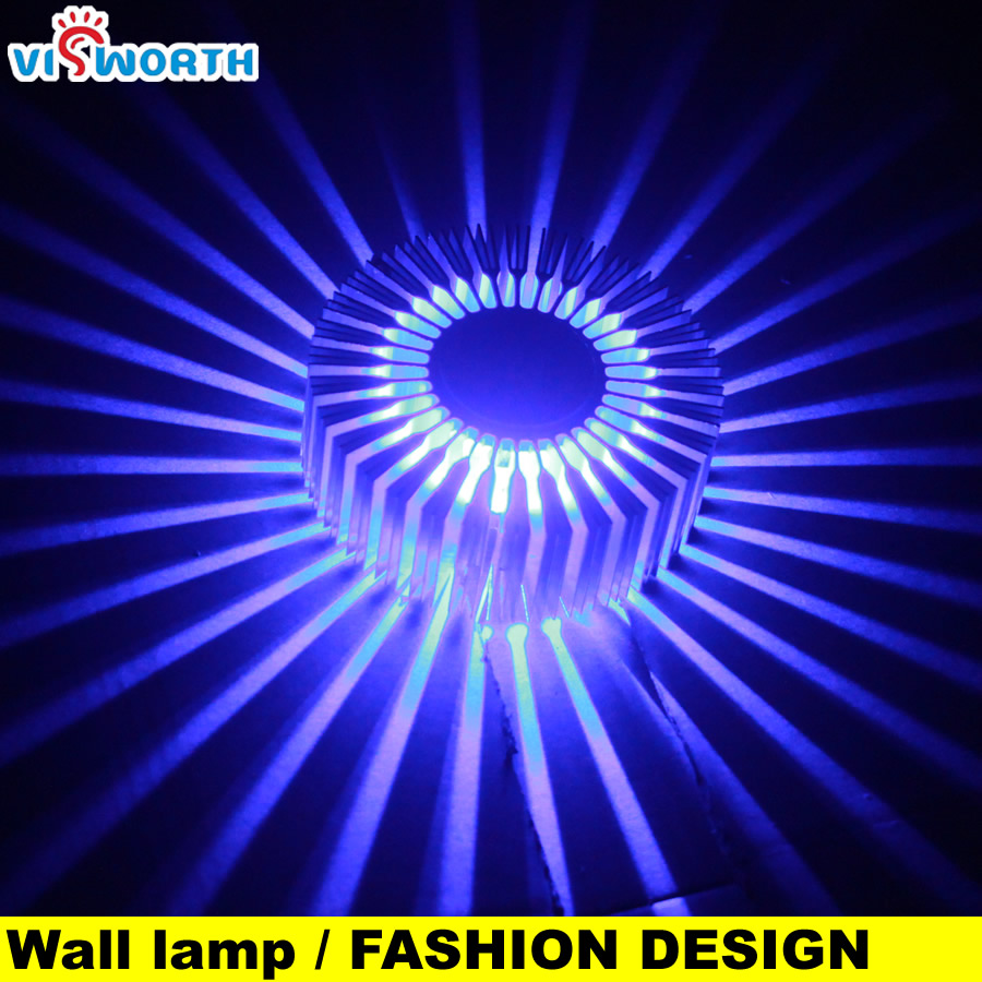 Christmas Sun Flower Aluminium Wall Light Lamps 3W Background Light Ac 110V 220V 240V Corridor Aisle Light Hotel SpotLight