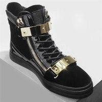 2019 новые металлические панк кожаные кроссовки мужские удобные и дышащие высокие туфли