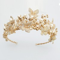 Dower Me Baroque Gold Butterfly Crown Wedding Prom Tiara Headband Pearls Bridal Hair Piece Accessories Hairband