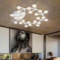 Post Modern Creative Industrial Lamp Iron PMMA LED Chandeliers Warm White Light Clusters Of Stars For