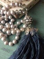 N16101502 Knot Pearls Necklace Black Shabby BoHo Silk Tassel Necklace