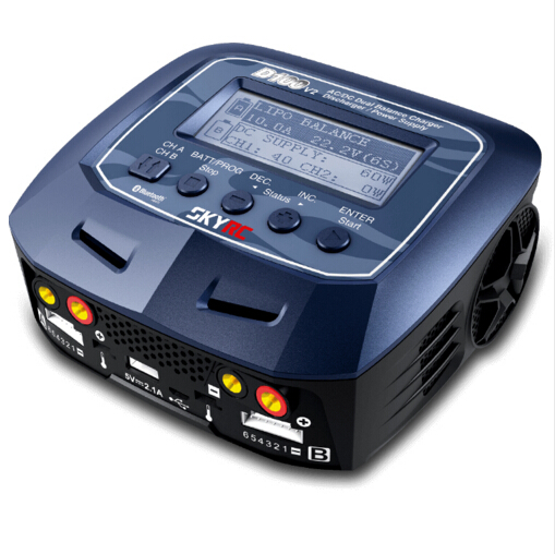 D100 V2 Twin Channel Charger AC DC LiPo 1 6s 2x100W with Bluetooth intelligent Balance Charger