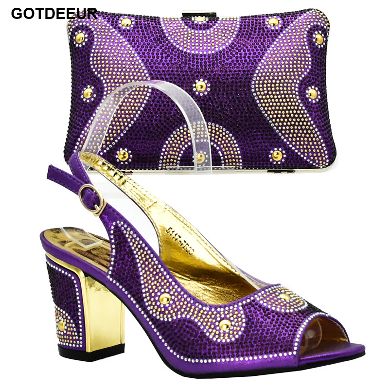 Purple Color Nigerian Shoe and Matching Bag Women Shoe In Purple Italian Ladies Shoes and Bags To Match Set Decorated with Stone