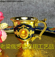 Z130 10 Russian Metal Handle Wine Coffee Cup Liquor Cup Deep Blue Orange Diamond Beads Transport