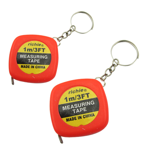 Promotion! 2 Pcs Multifunction Red Case 1 Meter 3 Feet Mini Tape Measure w Key Ring
