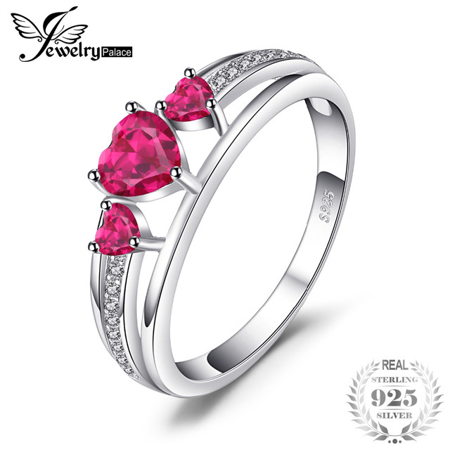 JewelryPalace Love Heart 0.9ct Created Red Ruby 3 Stones Anniversary Promise Rin