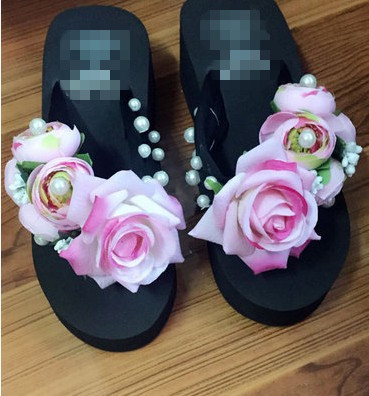 3b63de7db36bf8 Summer Style Red Rose Flower Sandals Women s Shoes High Heeled Wedges Buy  Platform Flip Flops Slippers-in Slippers from Shoes on Aliexpress.com