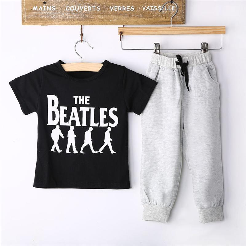 Baby Boy Clothes 2pcs Short Sleeve T-shirt Tops +Pants Outfit Kid Clothing Set Suit with Beatles Printed фен babyliss pro veneziano 2000вт 2 насадки 949214