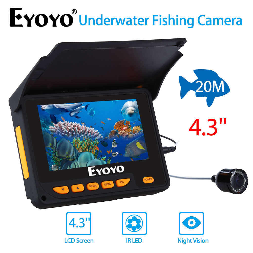 EYOYO 4.3 20M 320 x 240 Infrared Underwater Ocean River Lake Sea Boat Ice Fishing Camera Fish Finder Video Fixed on the Rod girl on the boat