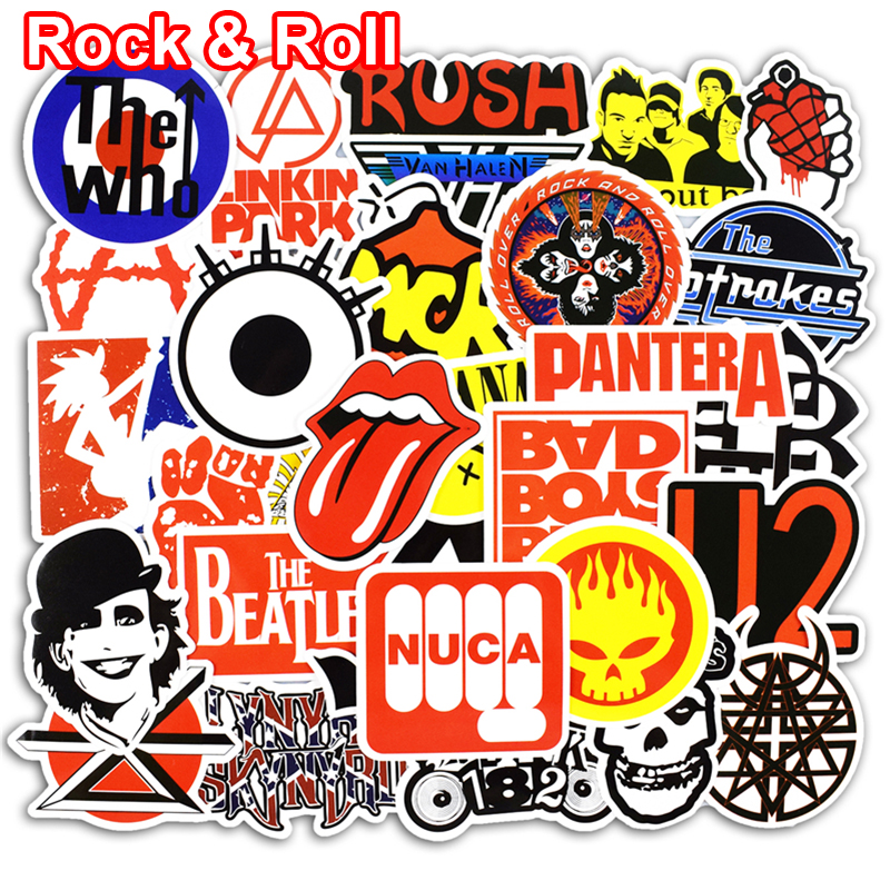 50 Pcs Rock & Roll Stickers for Laptop Luggage Bicycle Car Styling Skateboard Motorcycle Vinyl Decal Graffiti Punk Cool Stickers 9 6 13 7cm chihuahua dog vinyl decal cartoon animal car stickers bumper motorcycle car styling black silver s1 0496