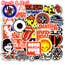 50 Pcs Stickere Rock & Roll pentru laptop Bagaje biciclete Styling auto Skateboard Motociclete Vinil Decal Graffiti Punk Cool Stickers