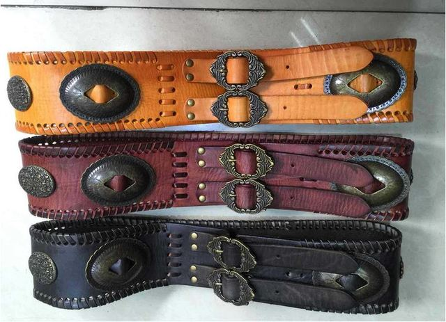 2016 New women vintage national wide Belts strap genuine leather cinturon marca knitted cummerbund winter mongol girdle  BT017