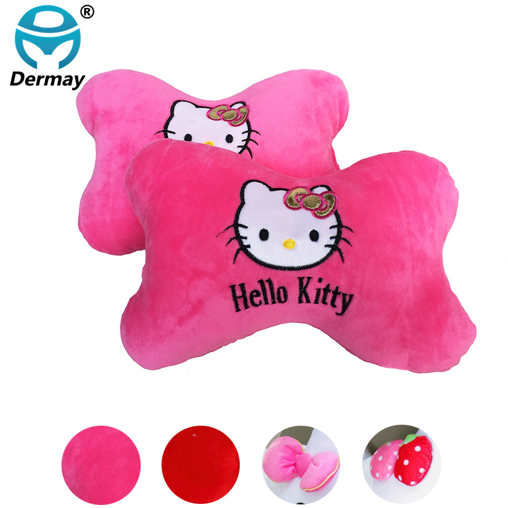 Aliexpress com buy 2pcs cotton high quality car neck pillow headrest red pink cute cartoon hello kitty car accessories free shipping from reliable