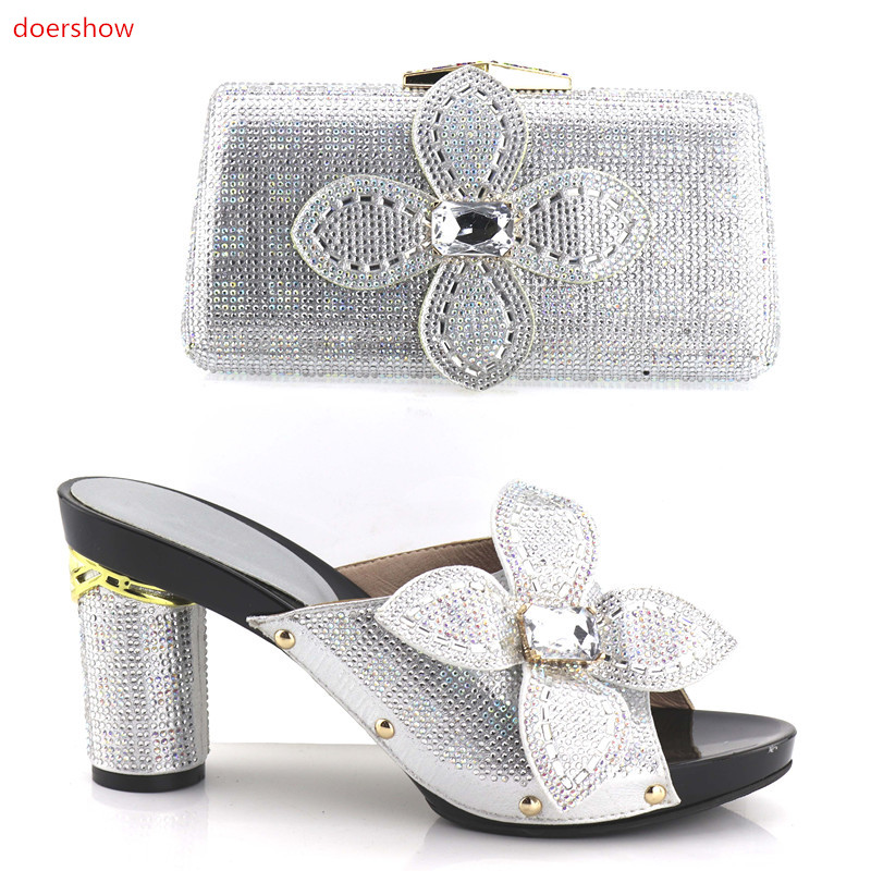 doershow Italian Ladies Shoe and Bag Set Decorated with Rhinestone Nigerian Women Wedding Shoes African Women Shoes  !HV1-33 italian visual phrase book