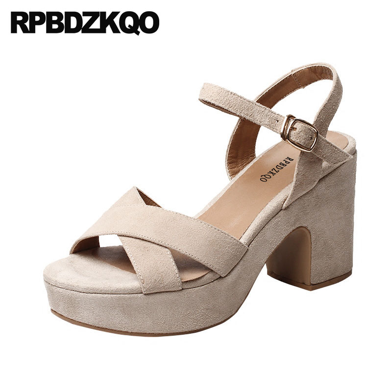 Work Open Toe High Heels Slingback Two Strap Sandals Nude Pumps Strappy Chunky Summer Platform Women Shoes 2018 Ladies Thick pumps shoes slingback open toe double strap sandals black summer women strappy designer stiletto high heels sexy big size 11