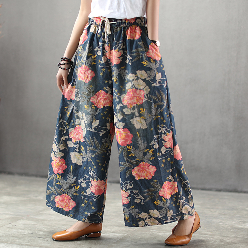 New Wide Leg Jeans Female 2019 Beautiful Printing Flower Elastic Waist Drawstring Pants Loose Plus Size Blue Jeans Woman