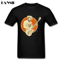 Cowboy Playing Bass Guitar Circle Drawing Men T Shirt Novelty Shirt Men Boy Short Sleeve Crewneck