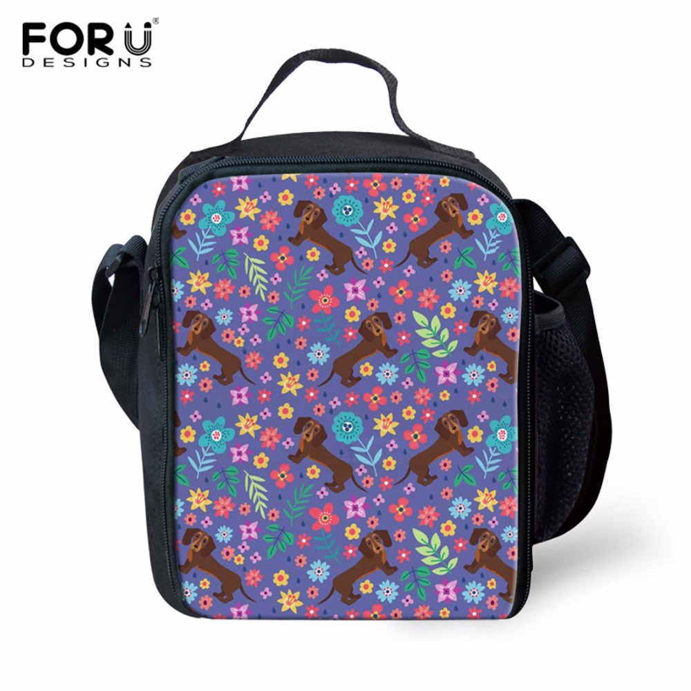 FORUDESIGNS Lunch Bag Women Handbags Office Bags Dachshund Printed Lunch Box Lunch Box for Kids Family Weekend Picnic Bag