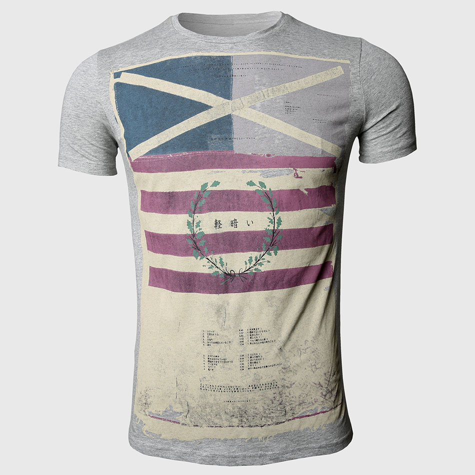 Shirt design vintage - Striped T Shirts Men Designer Clothes Cross Flag Print Vintage Military O Neck Slim Fit Tops