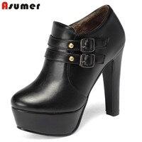 Asumer 2017 venda quente chegam novas mulheres botas de moda preto branco outono inverno ankle boots fivela zipper prom sapatos de senhora