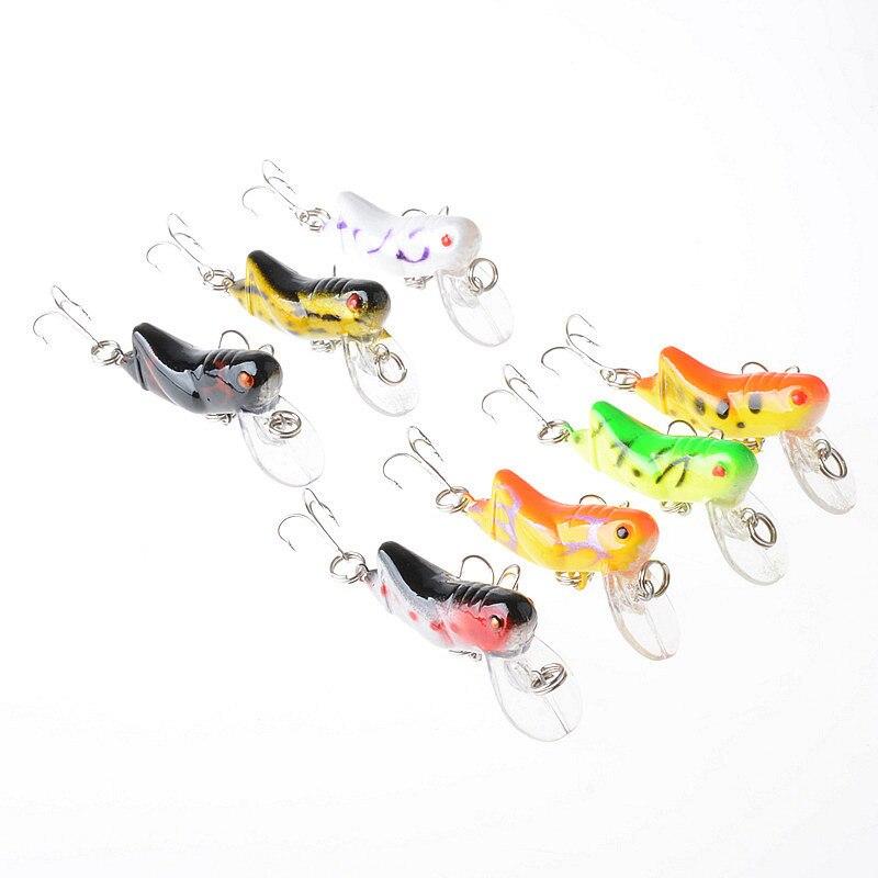 7PCS SET 4 5cm 4 1g Lure Fishing Plastic Minnow Hard Bait Artificial Insect Grasshopper Locust Floating Lip Artificial Baits in Fishing Lures from Sports Entertainment