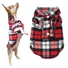 Primavera Roupas de Verão Para Cães Pequenos Gatos Chihuahua Yorkshire Filhote de Cachorro do animal de Estimação Cão T-shirt Camisas de Algodão Xadrez Clássico Roupas Colete