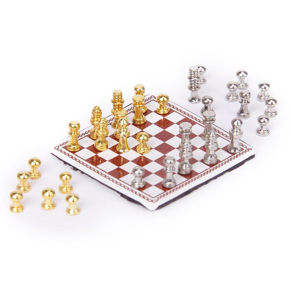 1:12 Dollhouse Miniature Metal Chess Set Silver & Gold