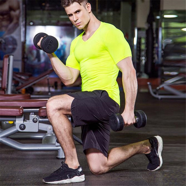 Men Wicking&Quick-Dry T-Shirt,Elastic Compression Tight Short Sleeve Underwear Undershirts,Sporting V Neck Shirts,Anti Wrinkle