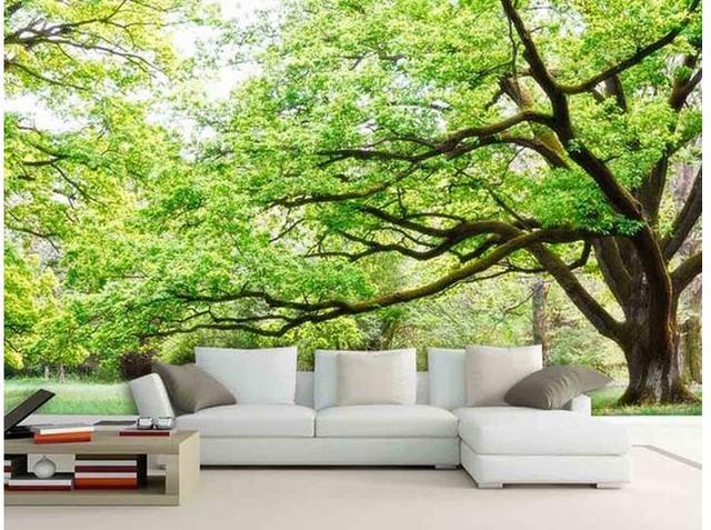 Carta Da Parati Classica Toile Primavera: 3d Wallpaper Green Forest Landscape Background Wall Photo