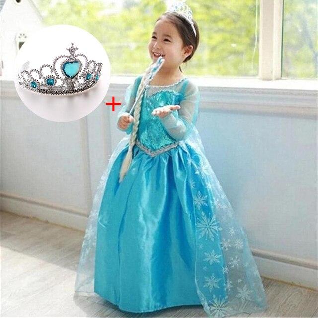 Fantasia 4-10y Bebê Menina Princesa Elsa Vestido para Meninas Vestir Roupas Cosplay Elza Traje Festa de Natal Das Bruxas Com Coroa