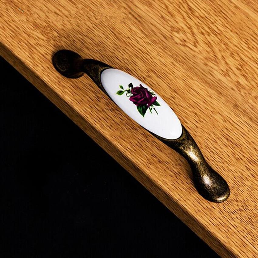 antique brass kitchen cabinet handle white purple ceramic drawer pull 96mm bronze dresser cupboard furniture decoration handle 96mm antique brass kitchen cabinet handle rustico pastorale ceramic drawer knob bronze dresser cupboard furniture door handle