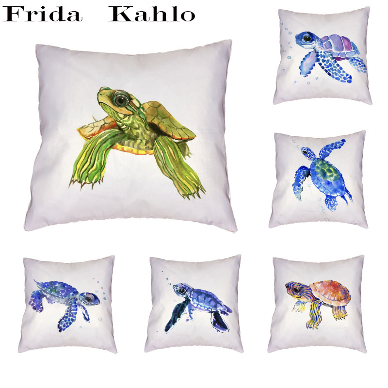 Home Textile Good Cute Sea Turtle Pattern Cushion Cover Polyester Peach Skin Spit Bubble Elegant Naughty Personality Style Pillow Home Decoration
