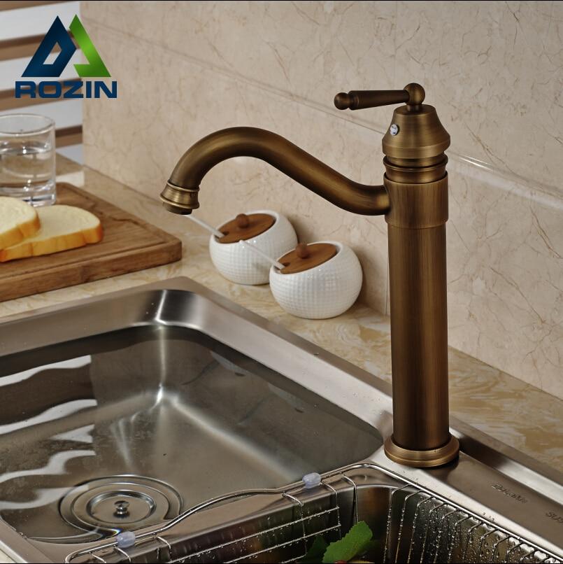 NºSingle Handle Deck Mount Brass Antique Kitchen Faucet Kitchen Sink ...