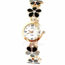 Premium Fashion Women Girls New Daisies Flower Rose Golden Bracelet Wrist Watch 3Colors Hot