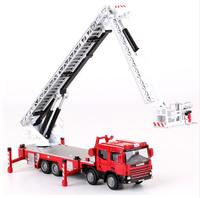 Alloy Diecast Water Ladder Fire Truck Toy 1:50 Set Boy Lift Simulation Alloy 360 Degrees Rotation Car Model Kids Toys