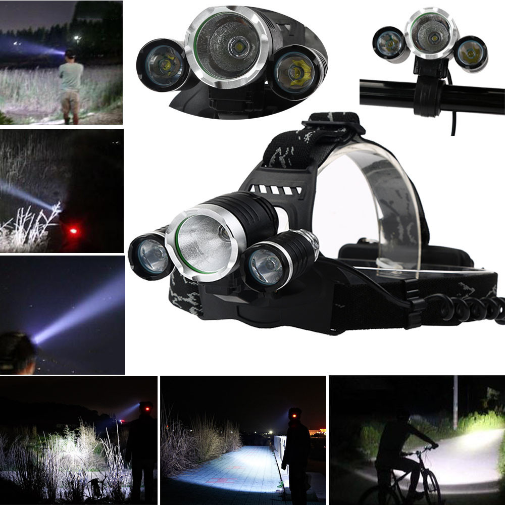 Multifunction Headlamp XM-L T6 LED Headlight 18650 Light Holder Bag