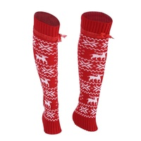 1 Pairs Christmas Elk Patterns Medium Hose Warm Keeping Medium Hose Long Leg Warmers Thigh High Warm Boot Socks Drop Shipping